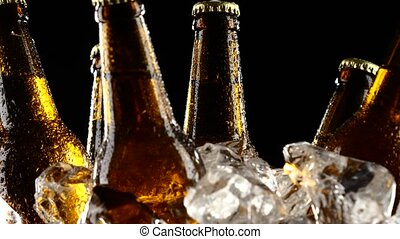 Cold beer, in slices of ice are bottles with a tempo drink, they are for oktoberfest. Black background. Close up