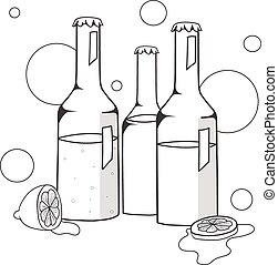 Bottles with alcohol vector illustration
