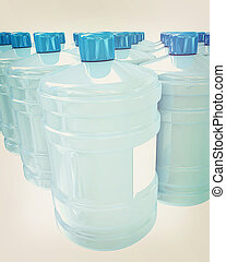 Bottles with clean blue water . 3D illustration. Vintage style.