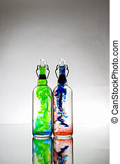 Bottles with color substance