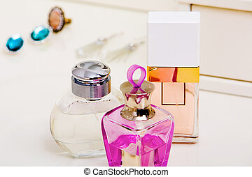 Bottles with fragrances - Image of three bottles of scents ...
