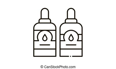Bottles With Ink Icon Animation. black Bottles With Ink animated icon on white background
