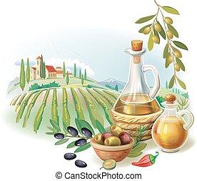 Bottles with Olive oil and rural landscape