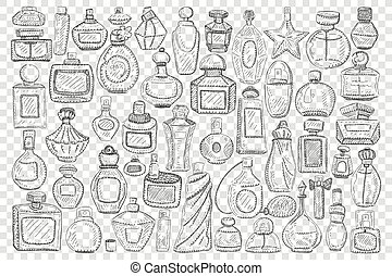 Bottles with perfume doodle set