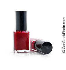 bottles with red nail polish isolated