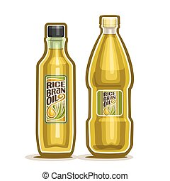 Bottles with Rice Bran Oil - Vector logo 2 yellow plastic...