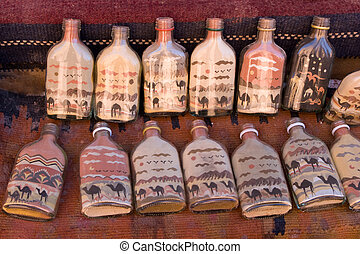 Bottles with sand pictures
