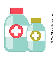 Bottles with tablets vector cartoon illustration.