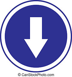 bottom arrow in circle blue sign