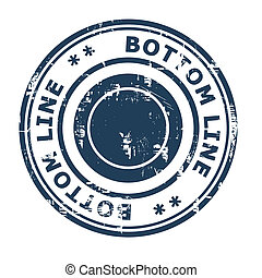 Bottom line business concept rubber stamp isolated on a white background.