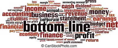 Bottom line-horizon - bottom line word cloud concept. Vector...
