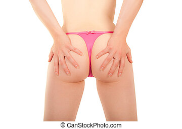 Bottom of a sexy young woman with pink-coloured panties