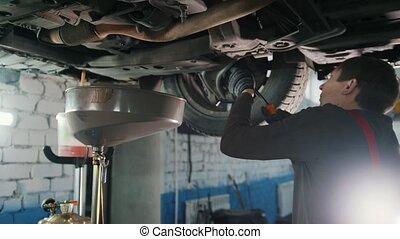 Bottom of car - Worker mechanic checks - automobile service,...