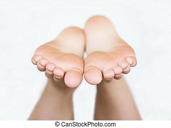 Bottom of Little Kids Bare Feet