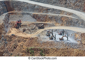 Bottom of open pit and machinery of a gold mine martha in Waihi, New Zealand