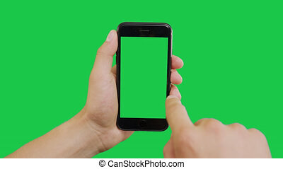 Bottom Right Click Smartphone Green Screen. Pointing Finger Clicking On Phone Screen with Green Background. Use in any project that depicts finger, gesture, touchscreen and the like.
