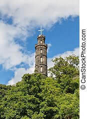 Nelson's Monument, - Bottom-up view of Nelson's Monument, ...
