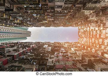Bottom view crown apartment Hong Kong downtown, cityscape...