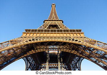 Bottom view of Eiffel Tower