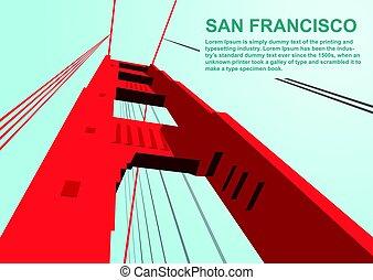 Bottom view of golden gate bridge in San Francisco