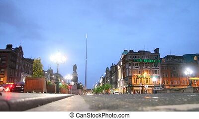 Bottom view of Irish Nationwide Building Society on O'Connell Street in Dublin