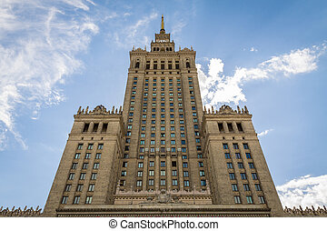 Bottom view of Palace of Culture and Science in Warsaw.