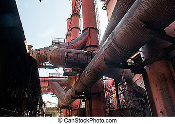 Bottom view of the pipes of an industrial plant