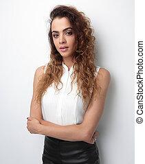 bottom view. stylish business woman on white background
