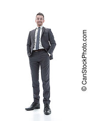 bottom view. successful businessman looking at the camera.