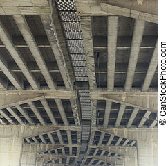 bottom view underside concrete beams of a bridge