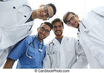 bottom view.a professional group of doctors