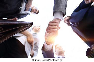 bottom view.business handshake.the concept of partnership