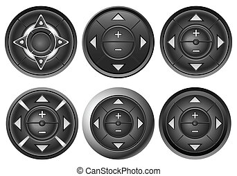 bottone, 2, set, multimedia