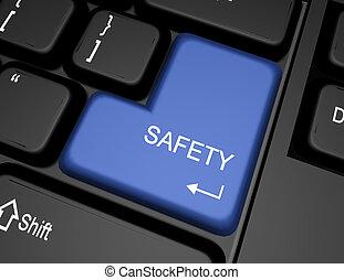 bottone, 3d, sicurezza, tastiera