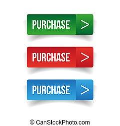 bottone acquisto, set, web
