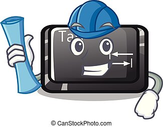 bottone, architetto, forma, linguetta, cartone animato