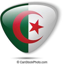 bottone, bandiera, algeria, lucido