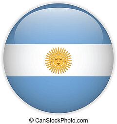 bottone, bandiera, argentina, lucido