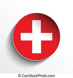 bottone, bandiera, carta, svizzera, cerchio, uggia