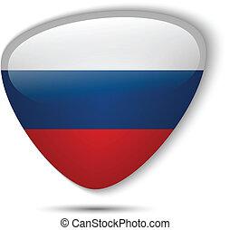 bottone, bandiera, lucido, russia