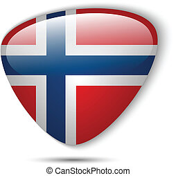 bottone, bandiera norvegia, lucido