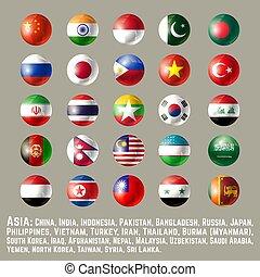 bottone, bandiere, rotondo, asia, uno