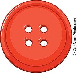 bottone, bianco, isolato, fondo, rosso