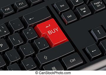bottone, comprare, rosso, tastiera