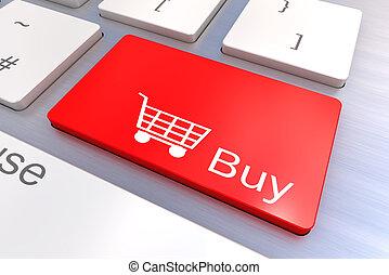 bottone, comprare, tastiera