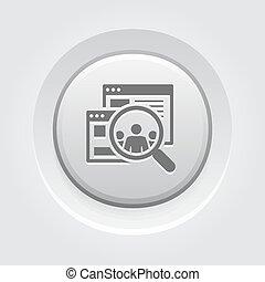 bottone, design., pubblico, icon., grigio