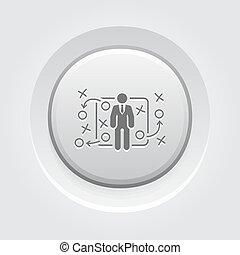 bottone, design., tattica, icon., grigio