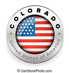 bottone, distintivo, bandiera, stati uniti, colorado