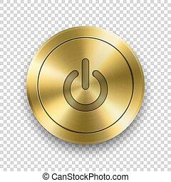 bottone, dorato, closeup., potere, textured, realistico,...