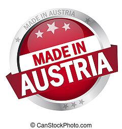 bottone, fatto, bandiera, austria